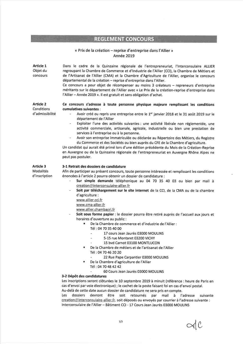 Dossier de candidature - Concours CCi reprise et création d'entreprise 2019